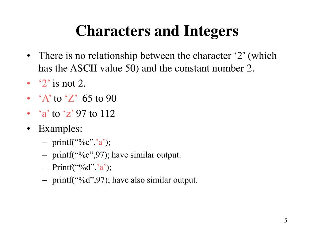 Characters and Integers