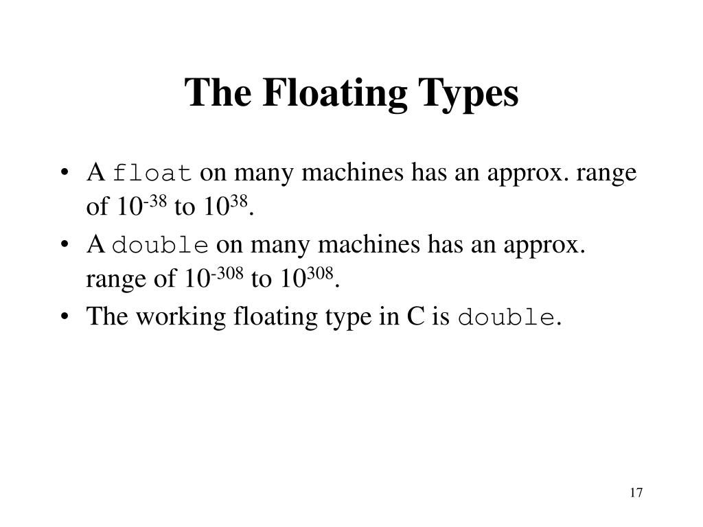 The Floating Types