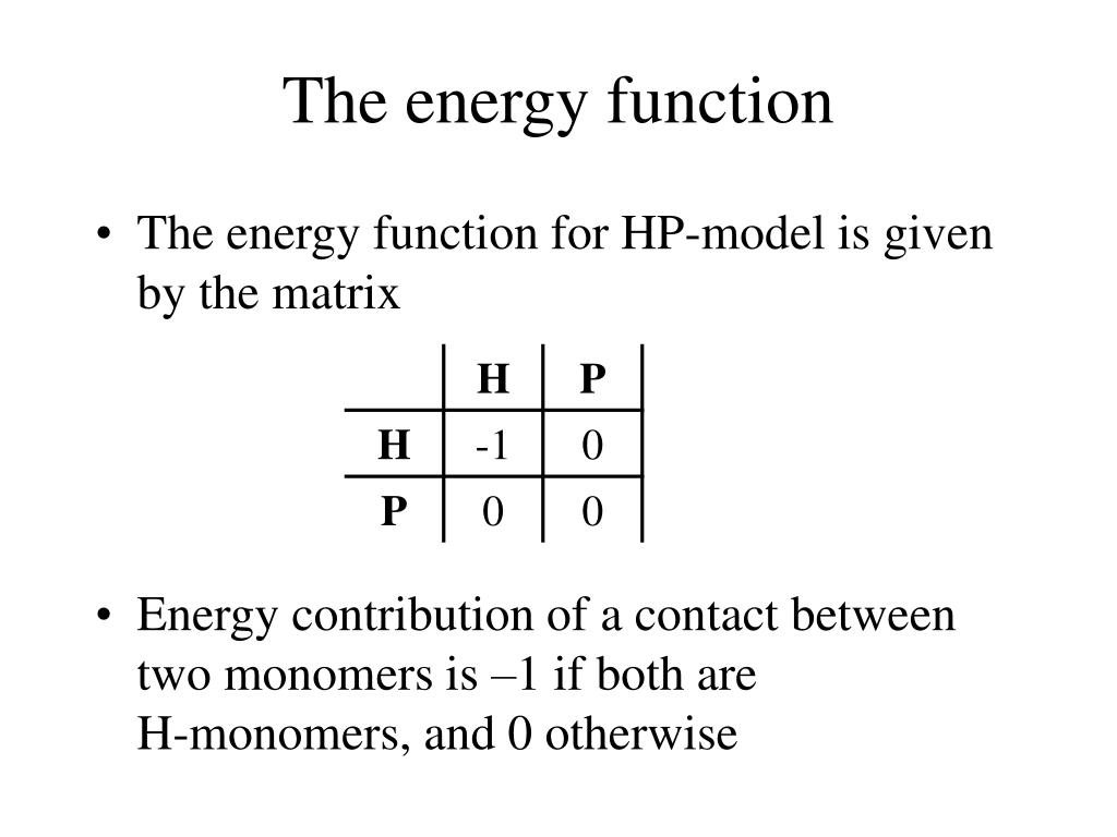 The energy function