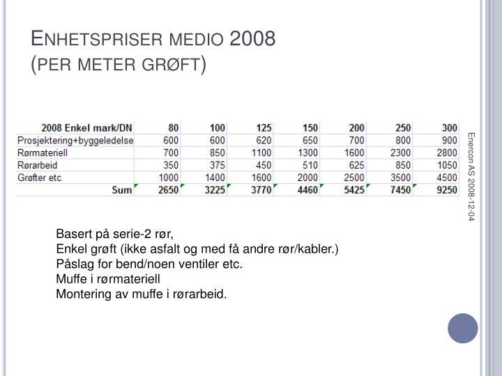 Enhetspriser medio 2008