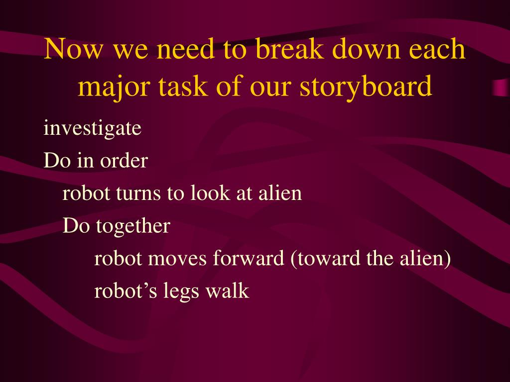 Now we need to break down each major task of our storyboard