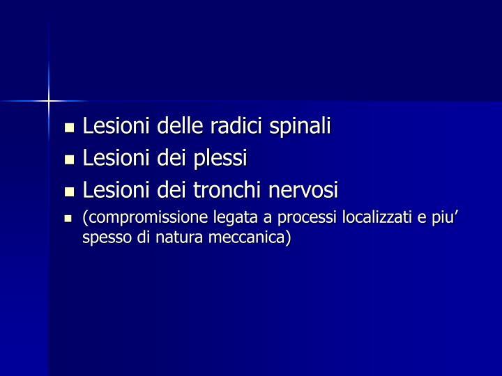 Lesioni delle radici spinali