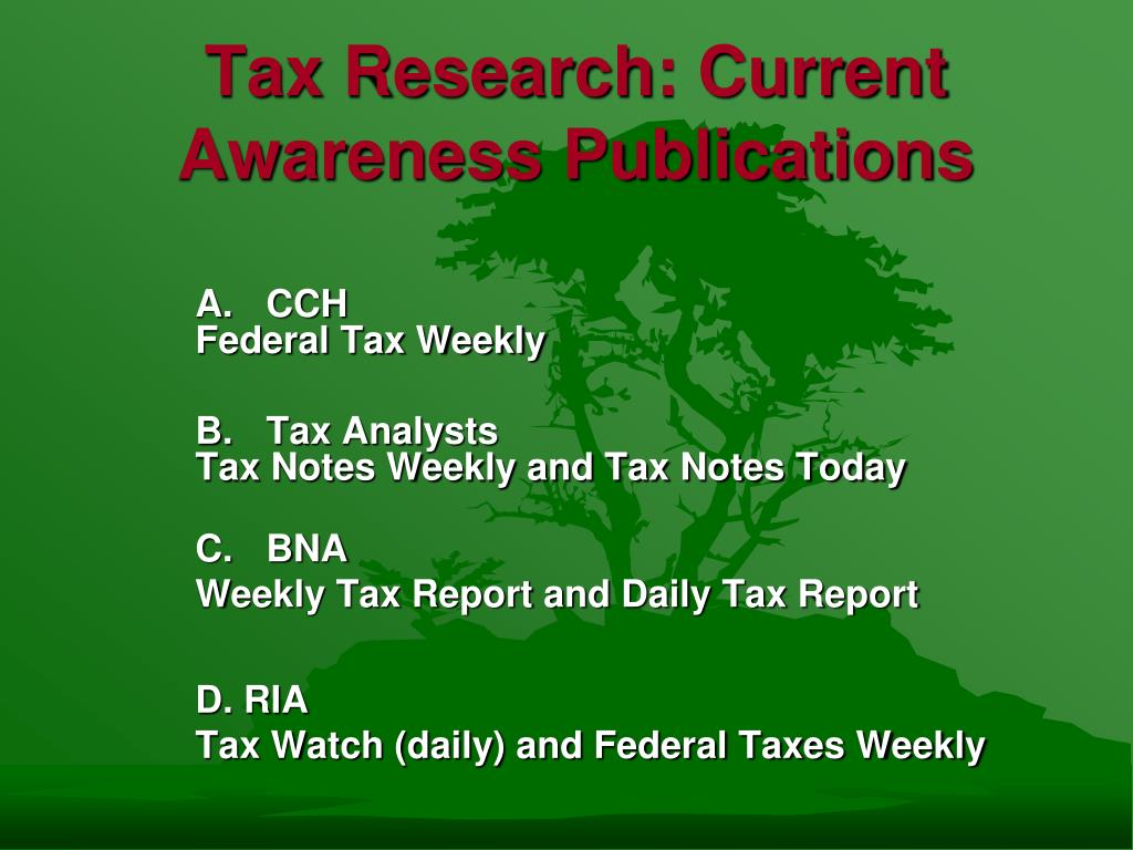 Tax Research: Current Awareness Publications