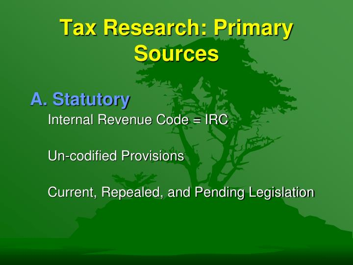 Tax research primary sources