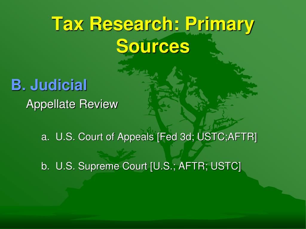 Tax Research: Primary Sources
