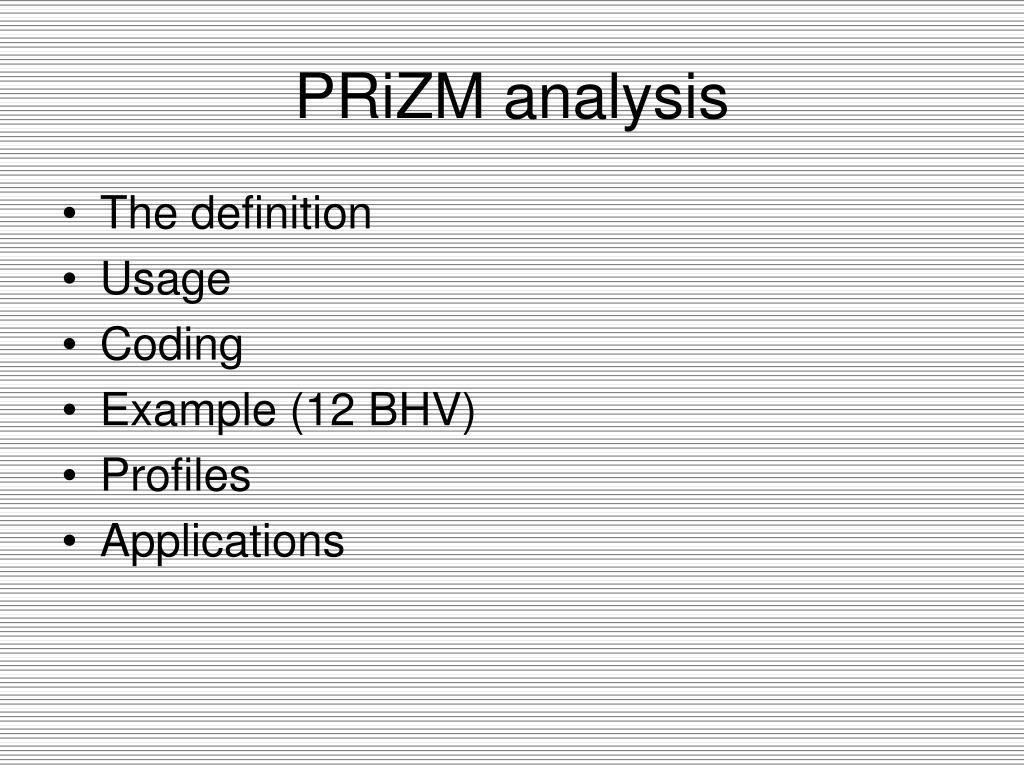 PRiZM analysis