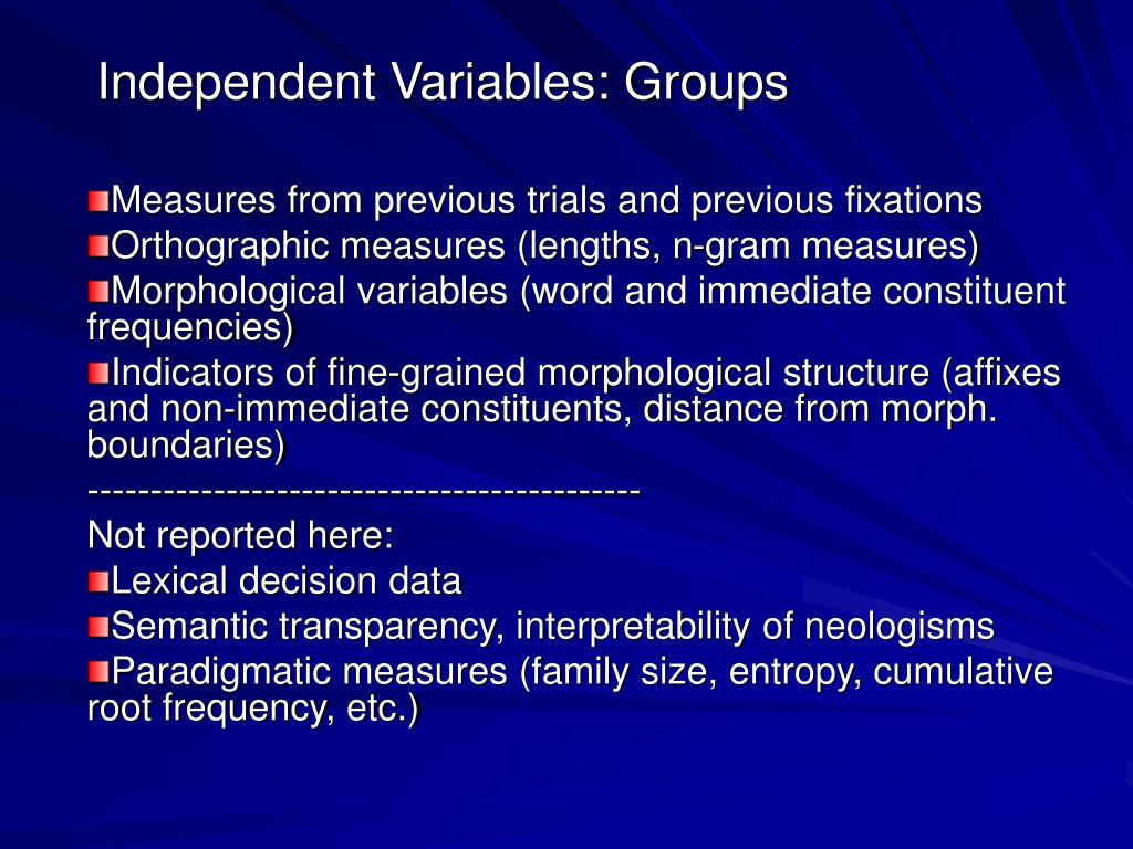 Independent Variables: Groups
