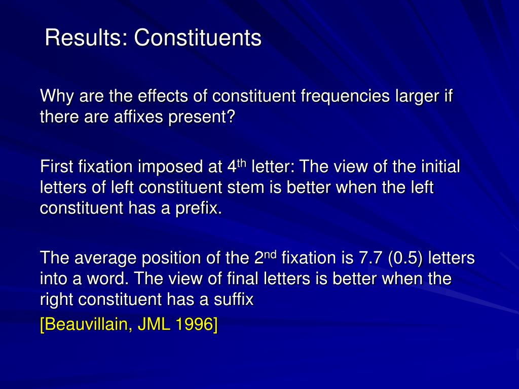 Results: Constituents