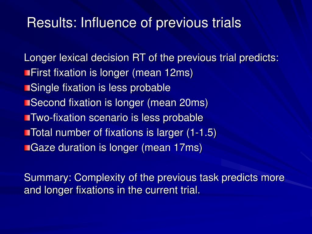 Results: Influence of previous trials