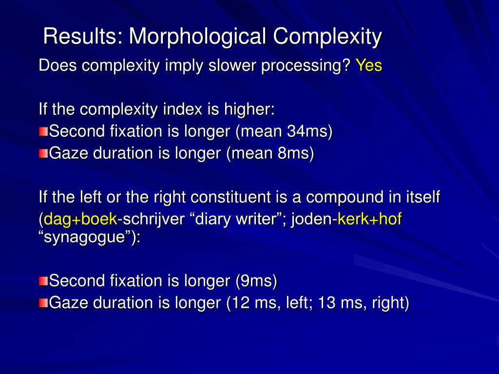 Results: Morphological Complexity