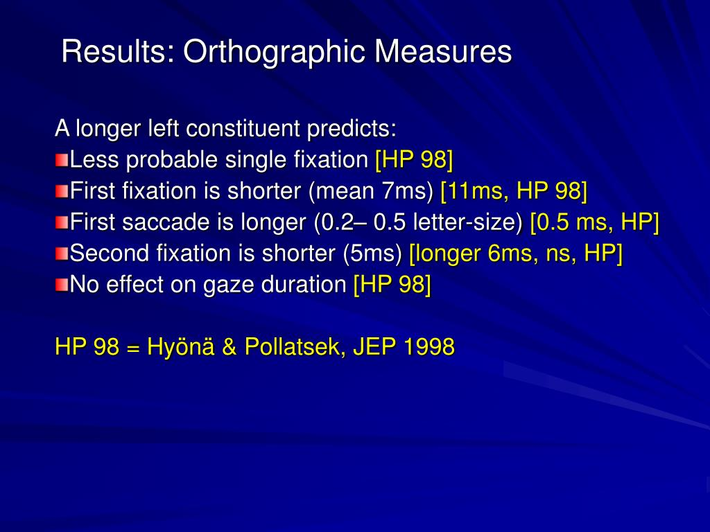 Results: Orthographic Measures