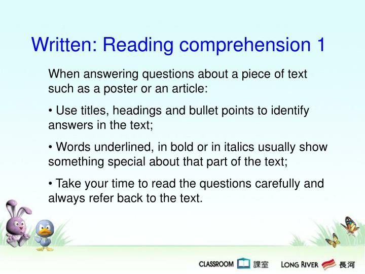Written: Reading comprehension 1