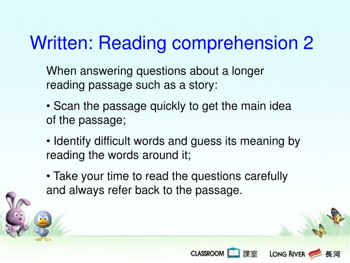Written: Reading comprehension 2