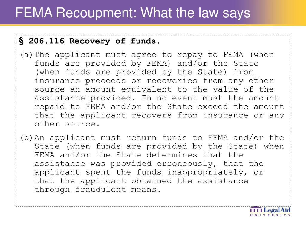 FEMA Recoupment: What the law says