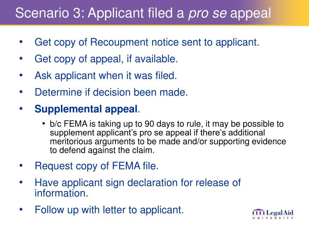 Scenario 3: Applicant filed a