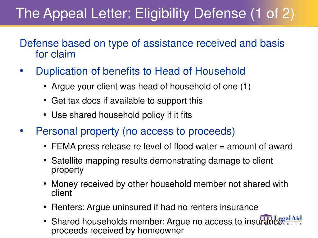The Appeal Letter: Eligibility Defense (1 of 2)