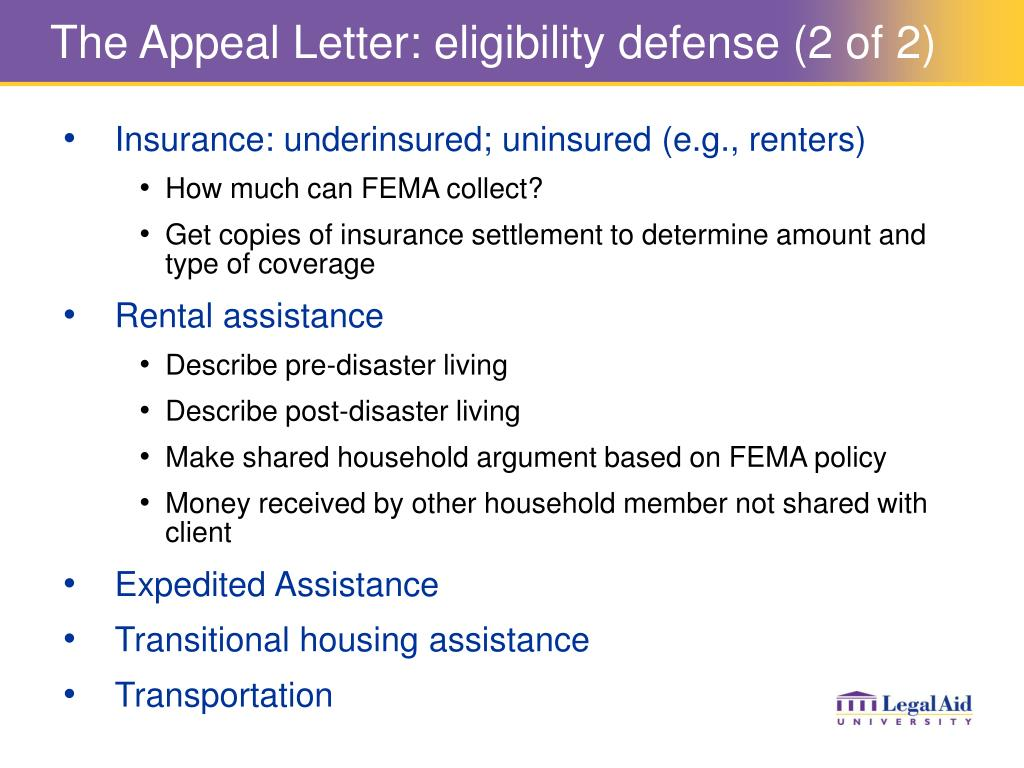 The Appeal Letter: eligibility defense (2 of 2)