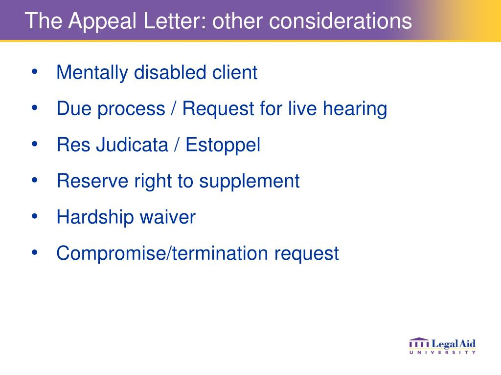 The Appeal Letter: other considerations