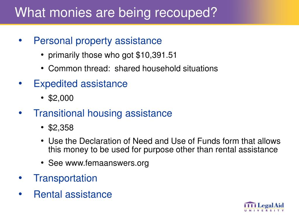 What monies are being recouped?