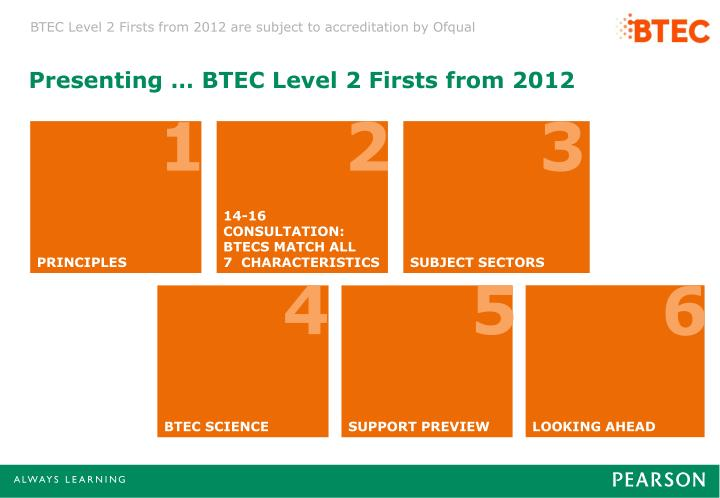 Presenting … BTEC Level 2 Firsts from 2012