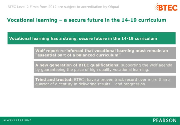 Vocational learning – a secure future in the 14-19 curriculum