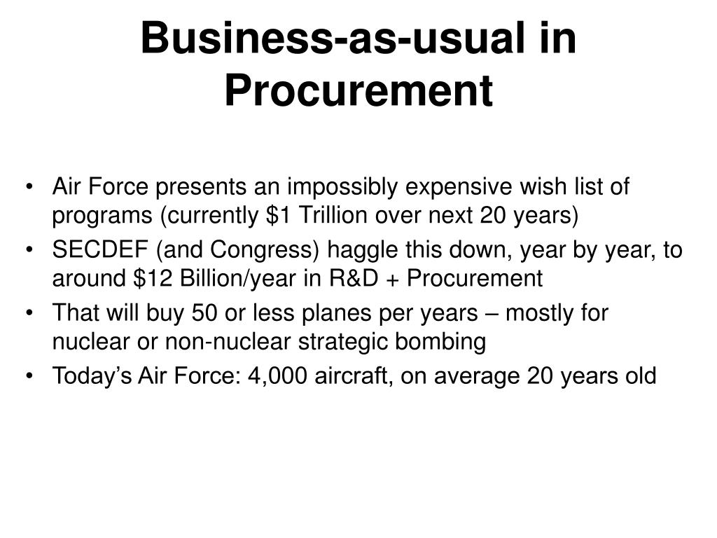 Business-as-usual in Procurement