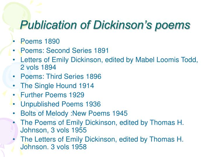 Publication of Dickinson's poems