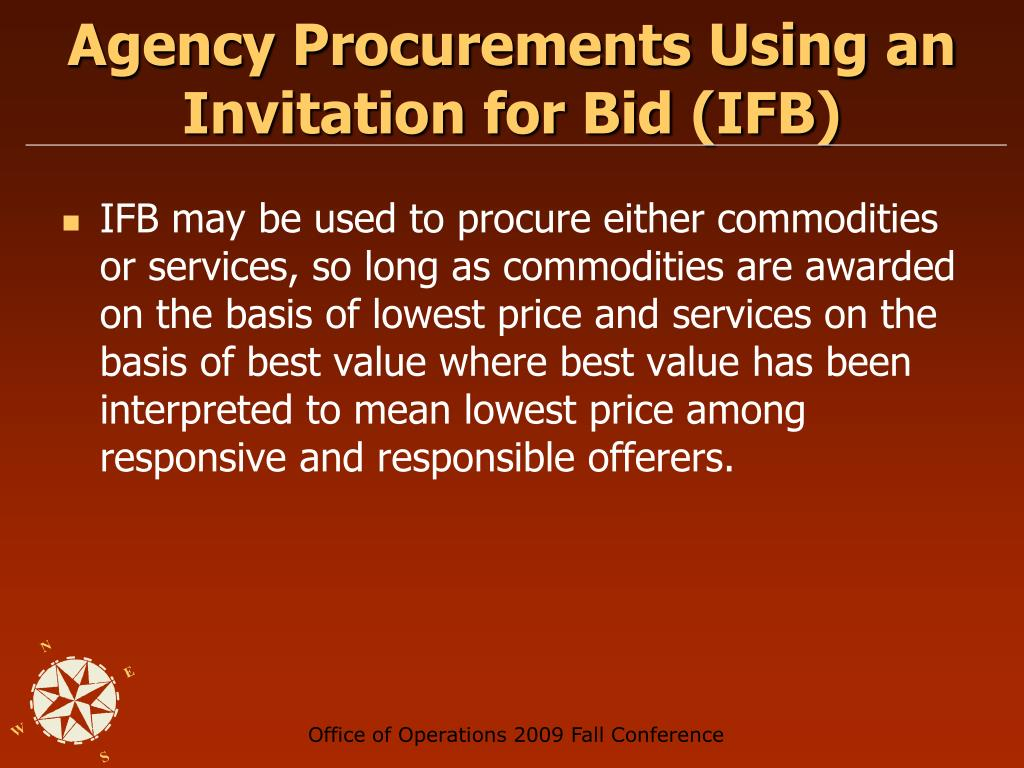 Agency Procurements Using an Invitation for Bid (IFB)