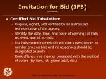 invitation for bid ifb continued