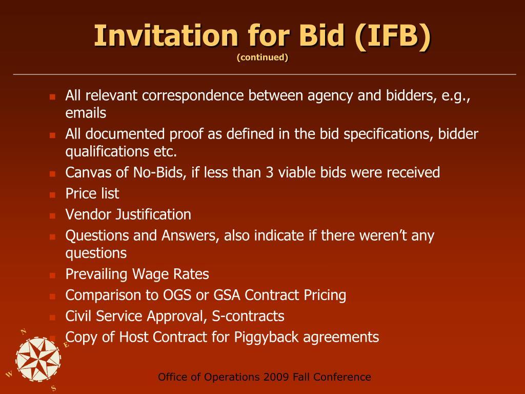 Invitation for Bid (IFB)