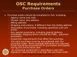 osc requirements purchase orders