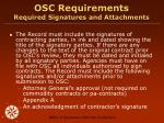 osc requirements required signatures and attachments
