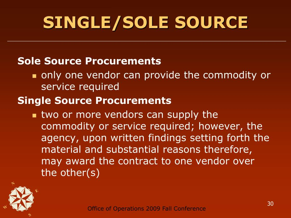 SINGLE/SOLE SOURCE