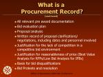 what is a procurement record continued