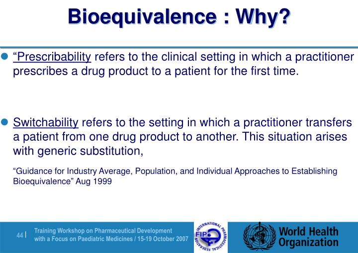 Bioequivalence : Why?