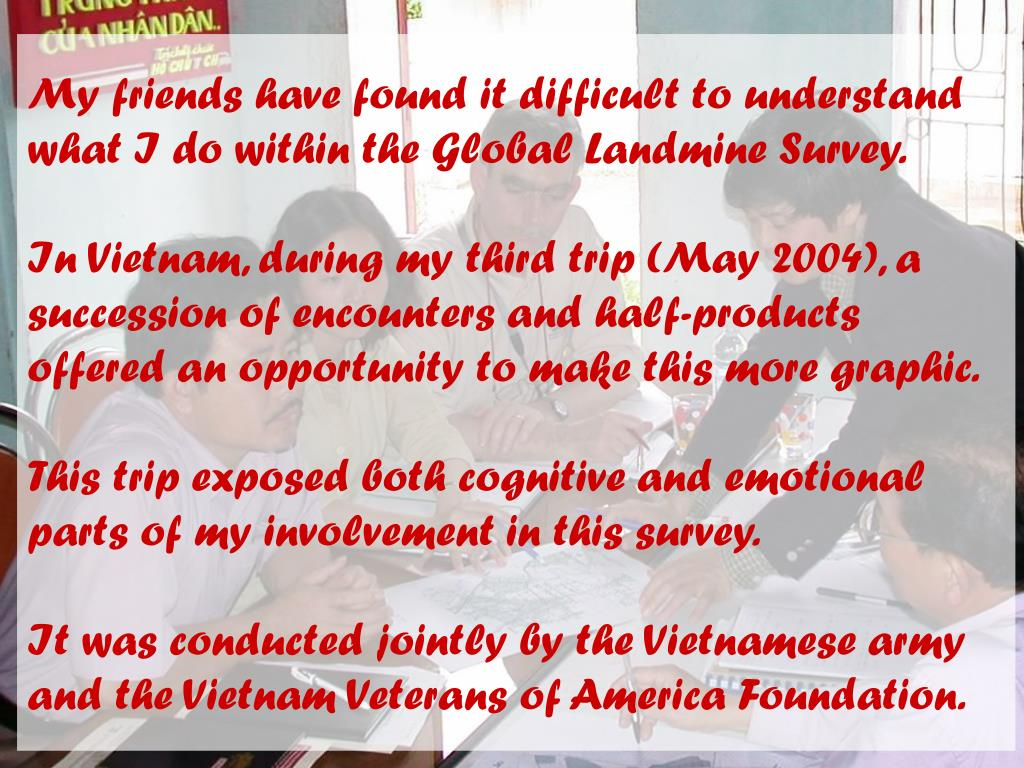My friends have found it difficult to understand what I do within the Global Landmine Survey.
