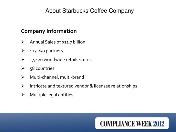 About Starbucks Coffee Company