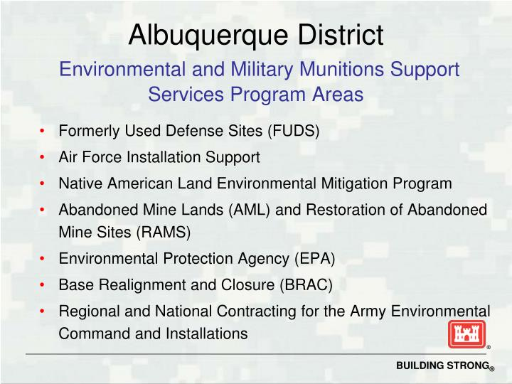 Albuquerque district environmental and military munitions support services program areas