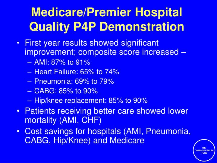 Medicare/Premier Hospital Quality P4P Demonstration
