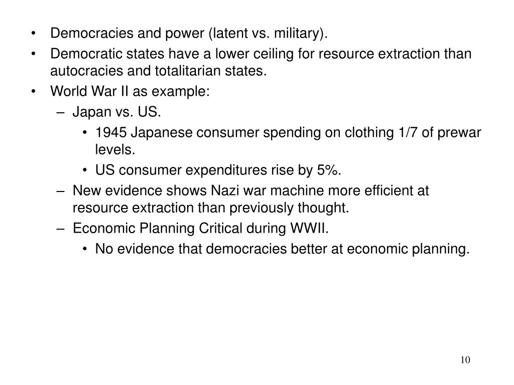 Democracies and power (latent vs. military).