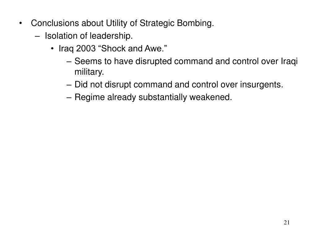 Conclusions about Utility of Strategic Bombing.