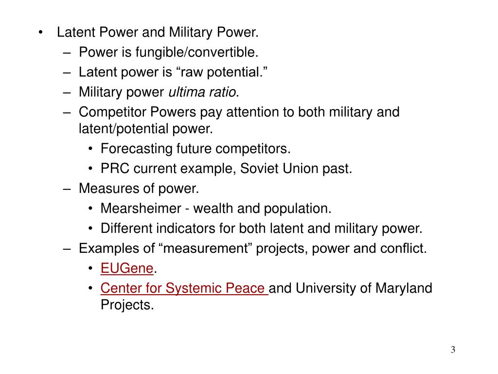 Latent Power and Military Power.
