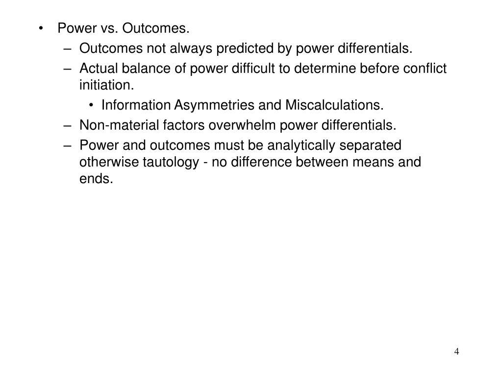 Power vs. Outcomes.