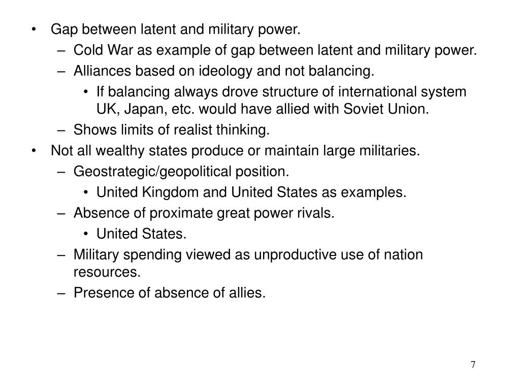 Gap between latent and military power.