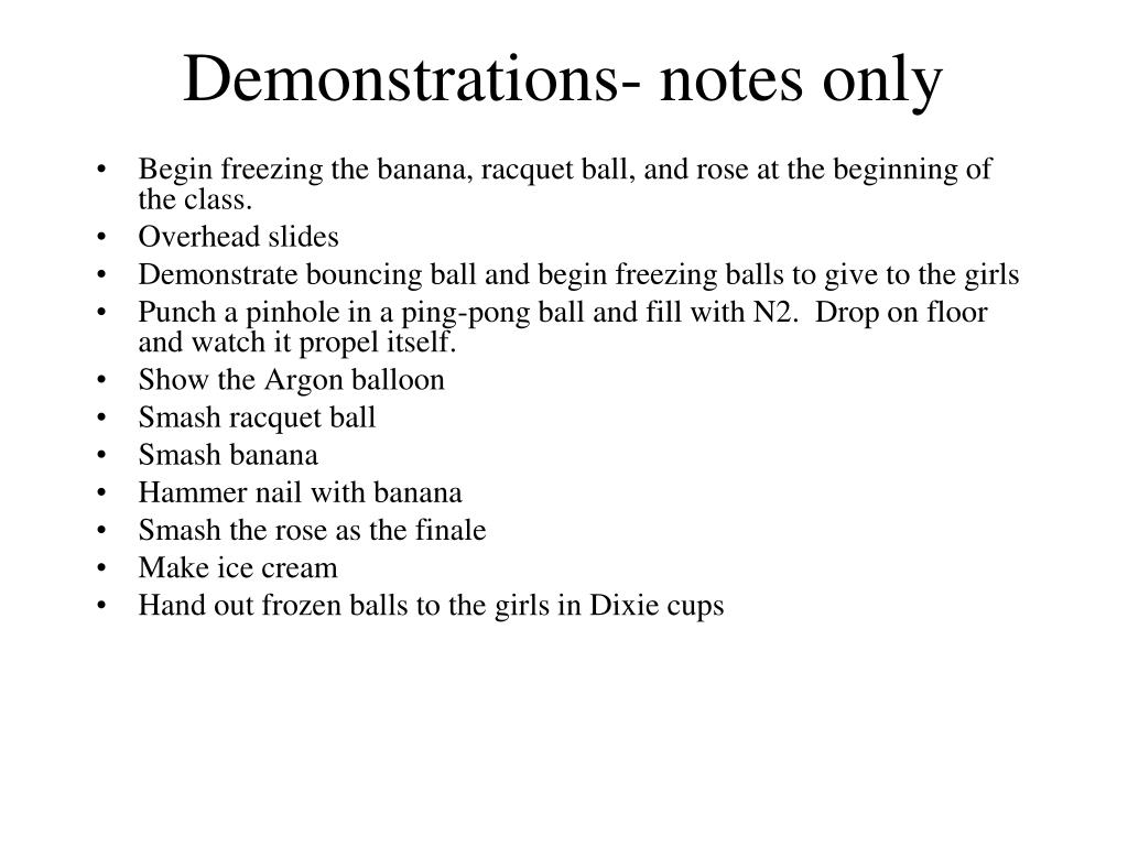 Demonstrations- notes only