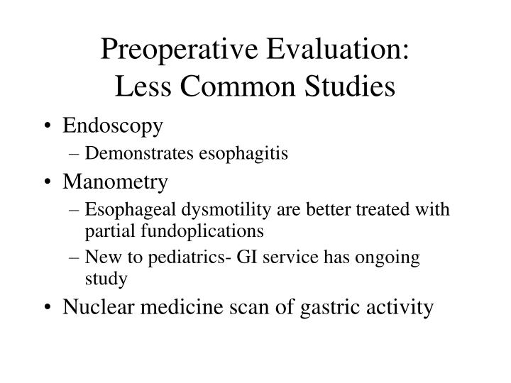 Preoperative Evaluation: