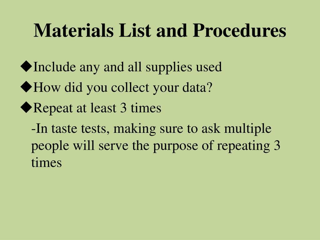 Materials List and Procedures
