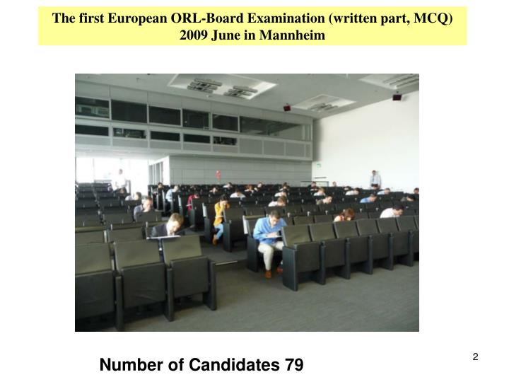 The first European ORL-Board Examination (written part, MCQ) 2009 June in Mannheim