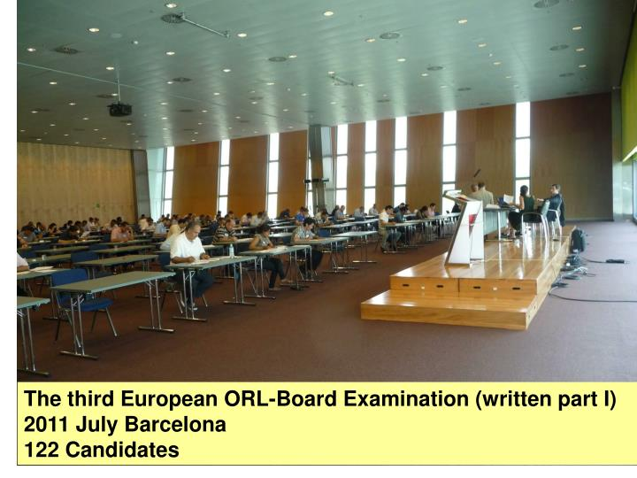 The third European ORL-Board Examination (written part I)