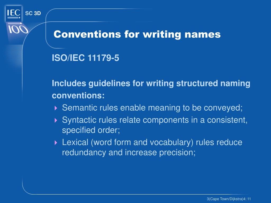 Conventions for writing names